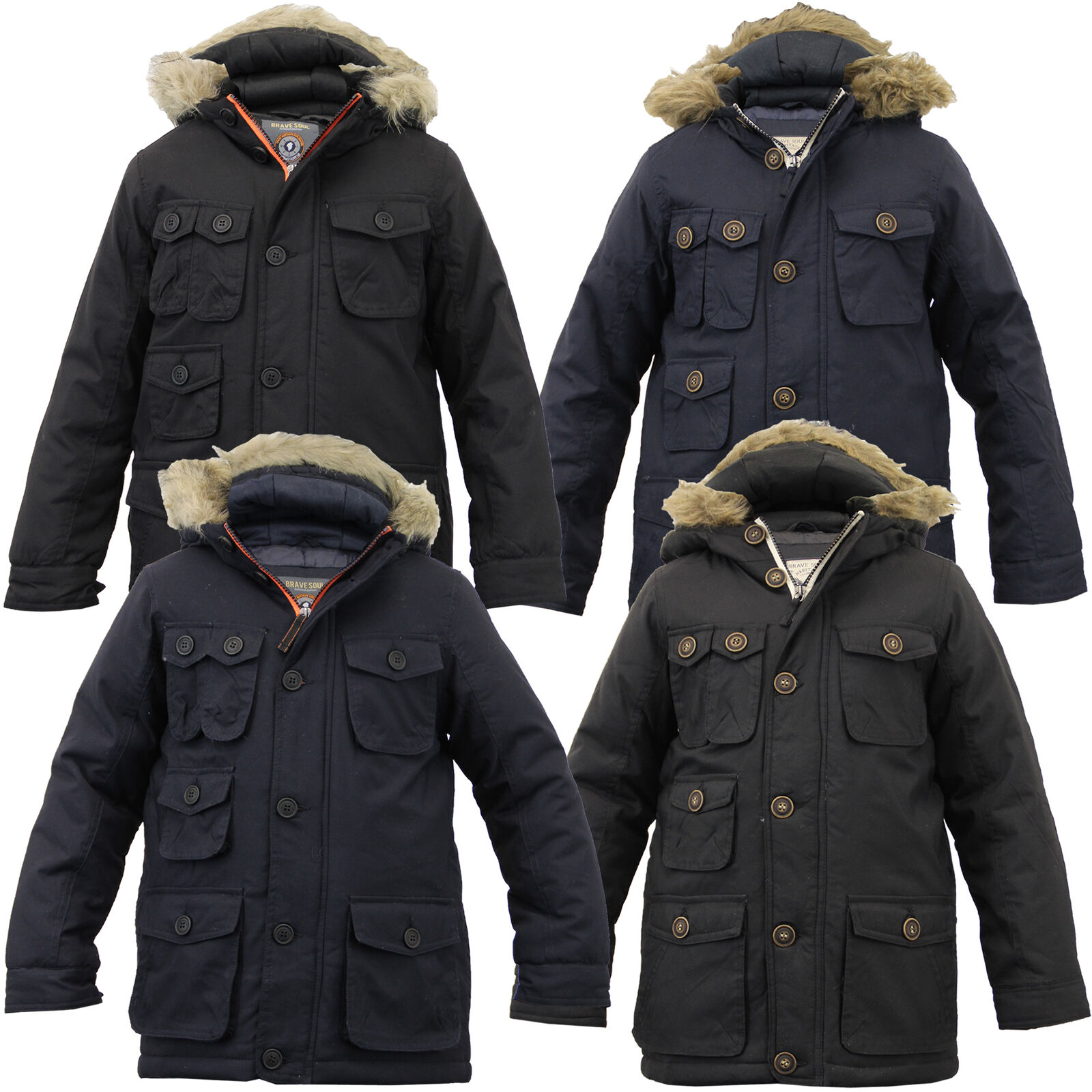 Fiúk Parka Jacket Brave Soul Coat Gyerekek Párnázott Kapucnis Fur Bélelt Kapucnis Téli Új