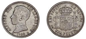 1-SILVER-PESETA-1-PESETA-PLATA-ALFONSO-XIII-MADRID-1905-VF-MBC