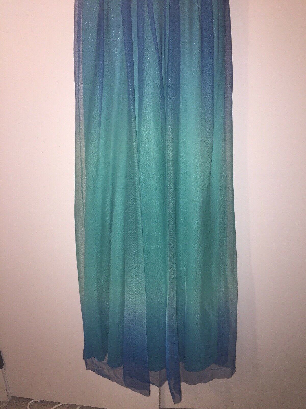 ONLY WORN ONCE teal bluee gradient long prom prom prom dress evening gown f8928e