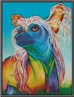 Cross Stitch Pop Art Colorful Chinese Crested - Complete Kit No.16-153