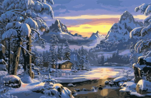 Scenery Digital Oil Painting DIY Paint By Number Art Home Wall Decro On Linen
