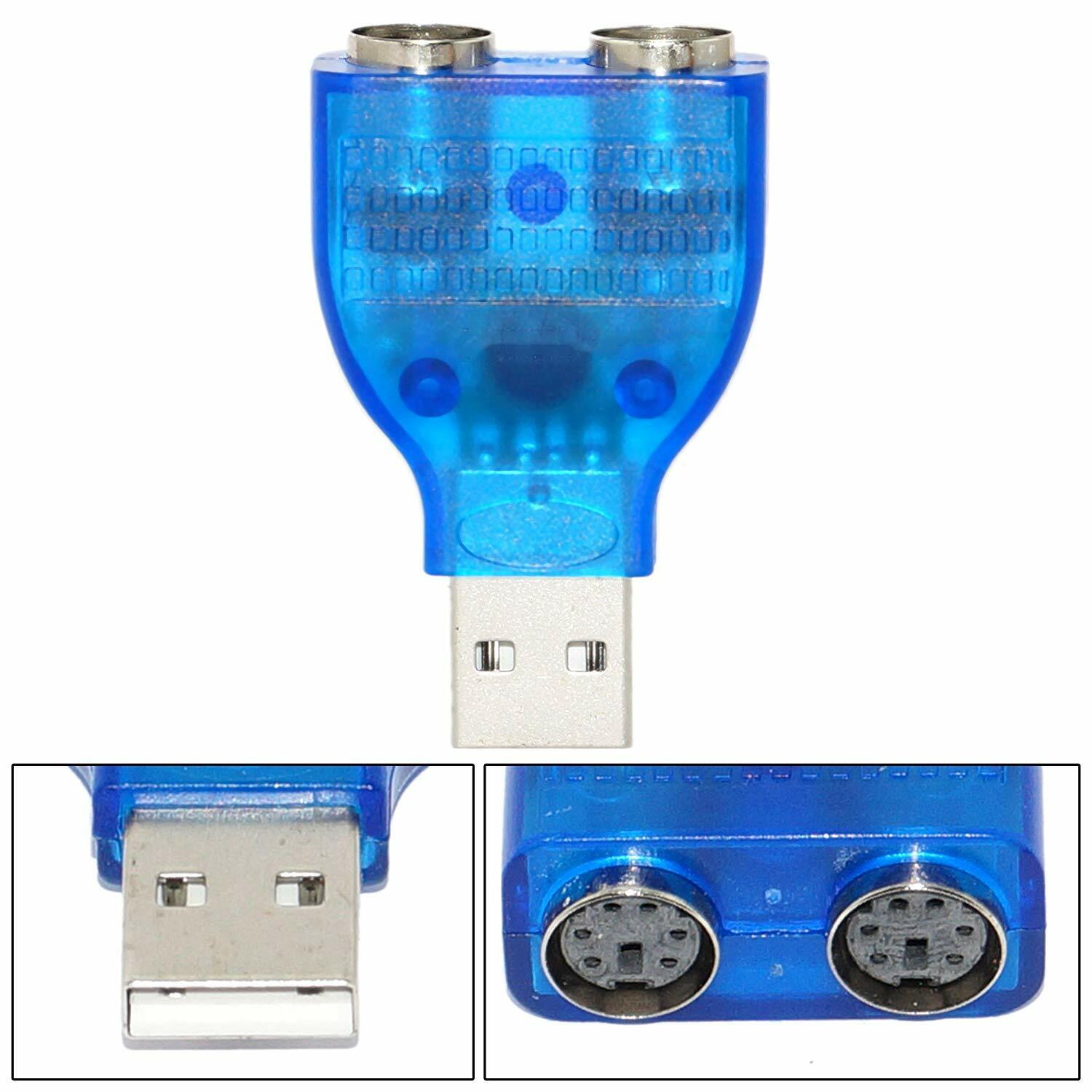 USB Type A Male to 2 x PS/2 PS2 Keyboard and Mouse Adaptor Converter Adapter