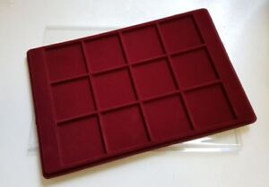 Red-Coin-Tray-for-12-Coins-Capsules-Transparent-Cover-Space-64-x-64-mm-P12