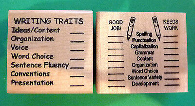 Teacher's Writing Editing Rubber Stamp Set of 2, with AMERICAN SPELLLING