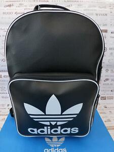4c96150778a1 Das Bild wird geladen Adidas-BACKPACK-CLASSIC-RUCKSACK-SCHWARZ-Vintage -PU-Schulter-
