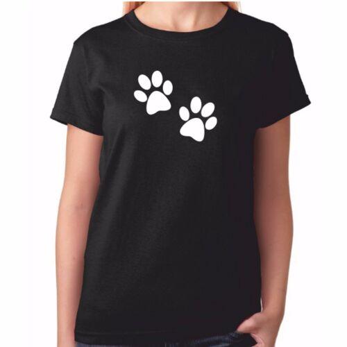 Funny Crazy Dog Clothing Ladies 2 Paw Prints Tshirt Labrador Staff Dachshund