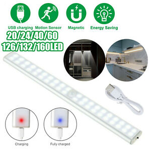 60 LED Motion Sensor Under Cabinet Closet Light USB Rechargeable Kitchen Lamp