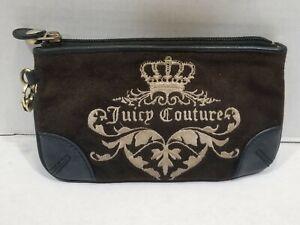 Juicy-Couture-Wristlet-black-Velour-Velvet-Zipper-Bag-Purse-Makeup-Cosmetic