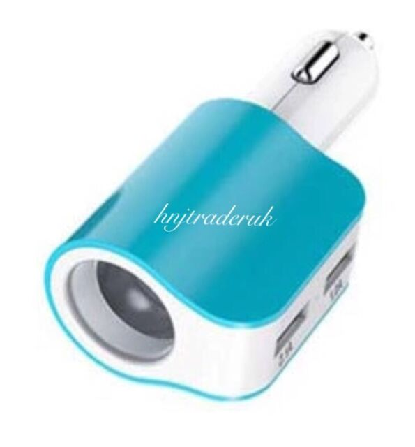 3 in 1 Way Car Cigaretter Lighter Socket Splitter 2 USB Power Charger Adapter
