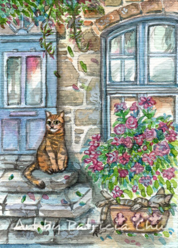 "ACEO LE Art Card Print 2.5x3.5/"" /"" Meow at the Door /"" Cat Art by Patricia"