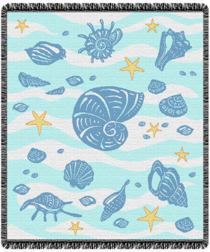 New Waves and Shells Afghan Throw Gift Blanket Sea Shell Shore Ocean Coast Blue