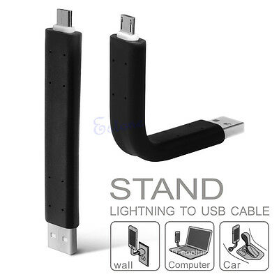 Bendable Stand Lightning V8 Micro USB Data Sync Charger Cable For Samsung S3 S4