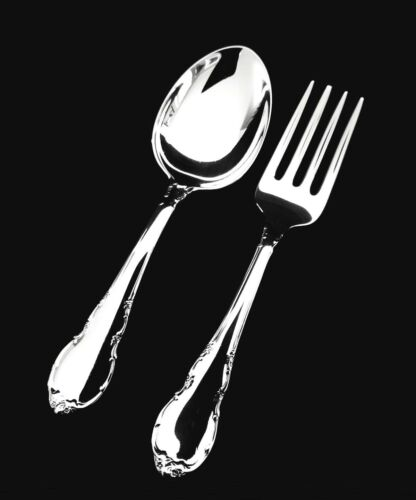 Lunt Modern Victorian Sterling Silver Baby Fork and Spoon Set GIFT QUALITY!