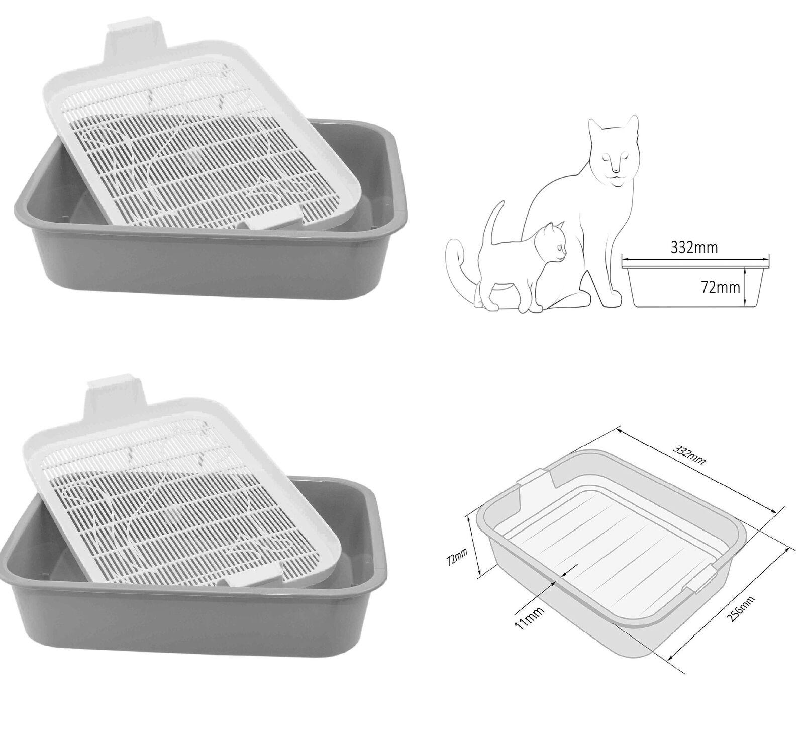 2x juego de bandejas de basura Bandeja recipiente de arena caja de arena gatitos