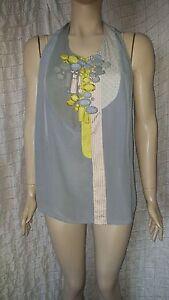 Rutzou-Hodge-Podge-sleeveless-100-silk-small-checked-top-size-40