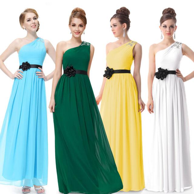 Ever Pretty White One Shoulder Long Evening Dress 09870 UK Sz 6 8 10 12 14 16 18