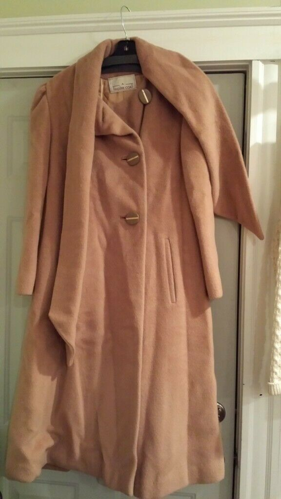 Vintage Trigere Camel Wool Long Coat with Scarf -… - image 1