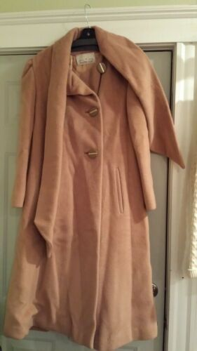 Vintage Trigere Camel Wool Long Coat with Scarf -