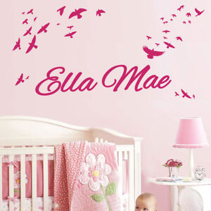 Personalised Name Children Wall Art Sticker - Flying Wings Birds
