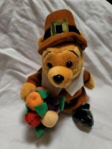 2001 Pooh pilgrim Thanksgiving USA Disneyland WDW  bean bag beanie