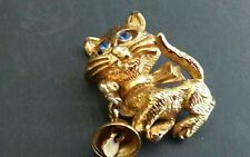 Vintage Kitty Cat /Dangling Bell Big Blue Rhinestone Eyes Brooch Pin by AVON