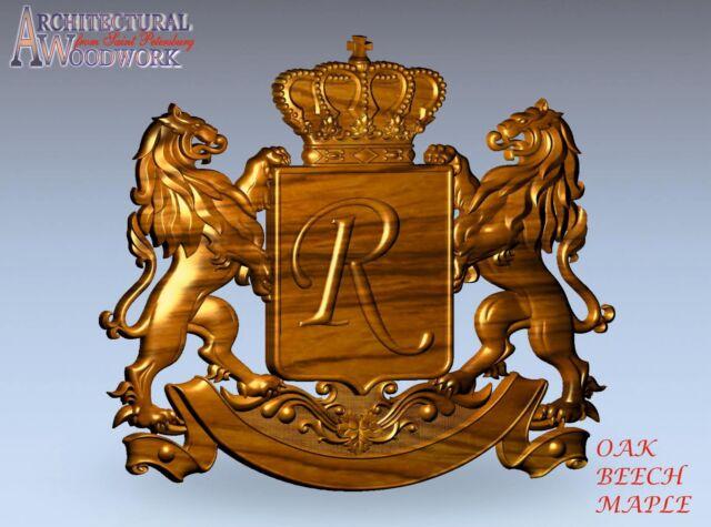 Hand carved Hardwood Applique//onlay Crest Emblem