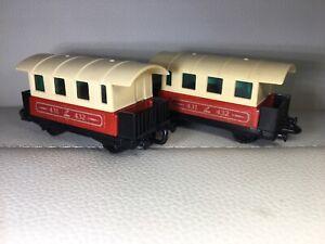 Matchbox-Eisenbahn-Railway-Lesney-2x-No-44-Passenger-Coach-Zug-Waggon-s-Bahn