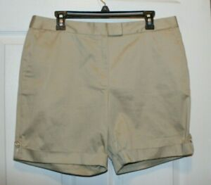 NWT-Brooks-Brothers-346-Women-039-s-Casual-Shorts-Khaki-Tan-Flat-7-034-Inseam-Size-12