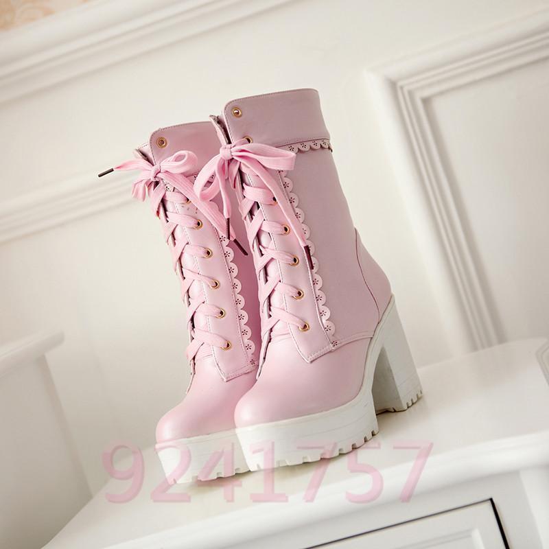 Neue Spitze Lolita Student hohen süße Dame Schuhe mit hohen Student Absätzen Stiefel Gr:33-42 8b7e45