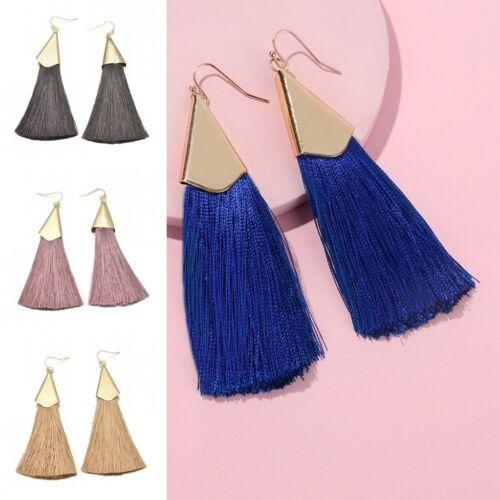 Women Bohe Earrings Long Tassel Fringe Drop//Dangle Ear Stud Fashion Jewelry