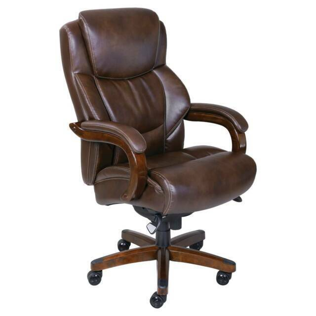 La Z Boy 45833 Delano Big Tall Executive Leather Office Chair Brown For Sale Online Ebay