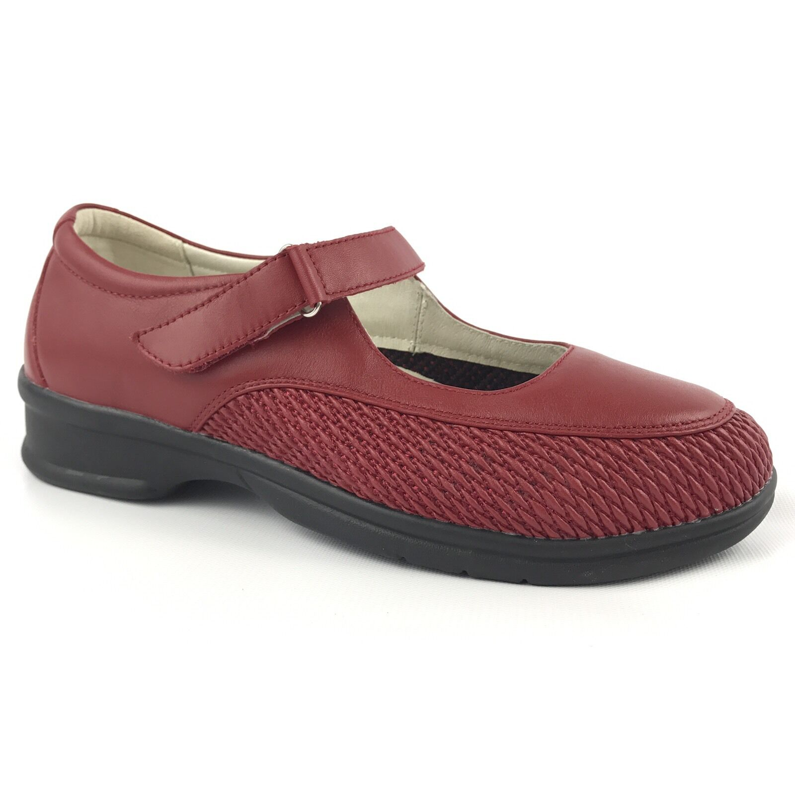 Propet ped rx donna rosso sautope 10 leather rubber sole rex insole strap low heel