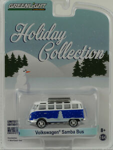 VW-Volkswagen-Samba-Bus-1-64-Greenlight-Holiday-Vacances-Collection