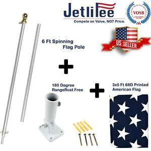 6-Ft-Tangle-Free-Spinning-Flagpole-with-Adjustable-Wall-Mount-3x5-ft-U-S-Flag
