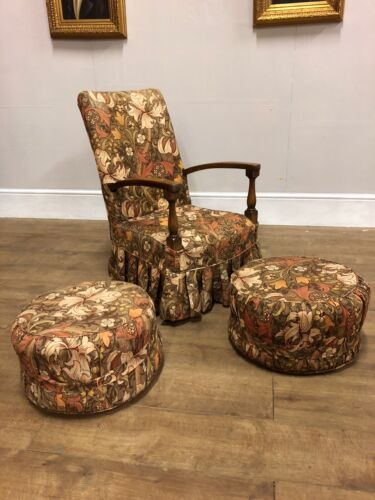 Vintage Bentwood Bedroom Chair Covered In Sanderson William Morris Fabric