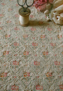 Antique-French-Roses-Floral-Cartouche-Brocade-Fabric-2-Coral-Pink-Aqua-Cream