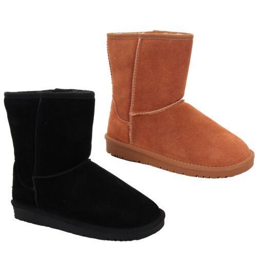 Ladies Snugg Real Suede Plain Fur Lined Warm Comfy Flat Ankle Boots Shoes