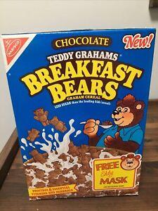 nabisco teddy grahams breakfast bears cereal, full unopened, 1989,15oz,eddy mask