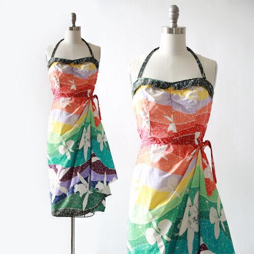 Vintage 50s Hawaiian Rainbow floral sarong dress S