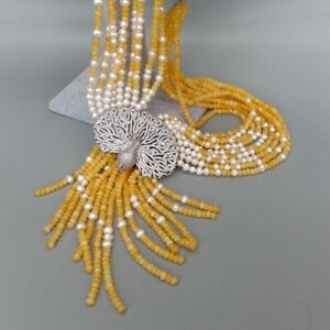 """9 Strands Yellow JadeWhite PearlNecklace CZ Pave Peacock Pendant19.5"""""""