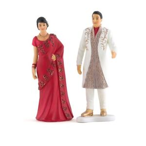 Traditional Indian Bride And Groom Wedding Cake Topper Sari Bindi