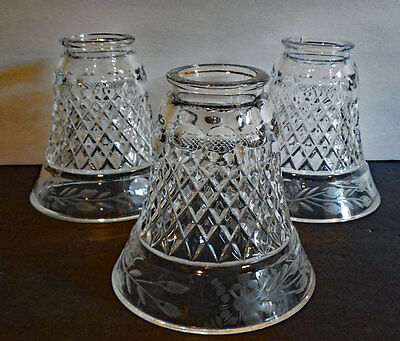 antique 3 CRYSTAL LAMP SHADES W / DIAMOND PATTERN & ETCHED FLORALS
