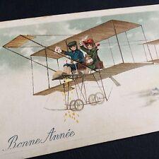 CPA Gaufrée Fantaisie Avion Biplan Bonne Année 1919