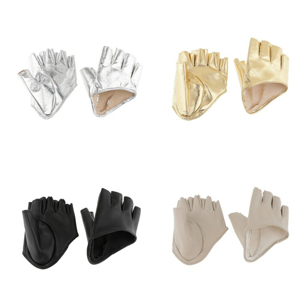 PU Leather Women Half Finger Half Palm Gloves Fingerless Pole Dance Driving