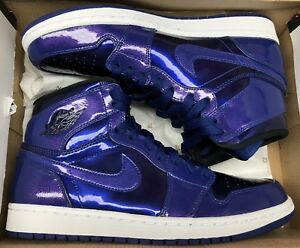 0761222ec4e6c0 Jordan Retro 1 High Deep Royal Blue Patent Black White Purple OG ...