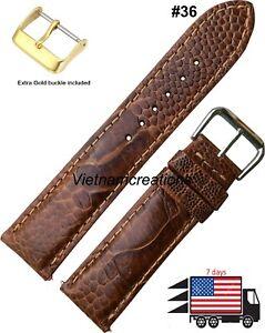 Genuine-OSTRICH-Skin-Leather-Watch-Strap-Band-Handmade-36-Brown-18mm-24mm