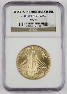 2008 W $50 1 Oz 22K Gold American EAGLE Burnished Coin NGC MS70 SEMI-KEY Date