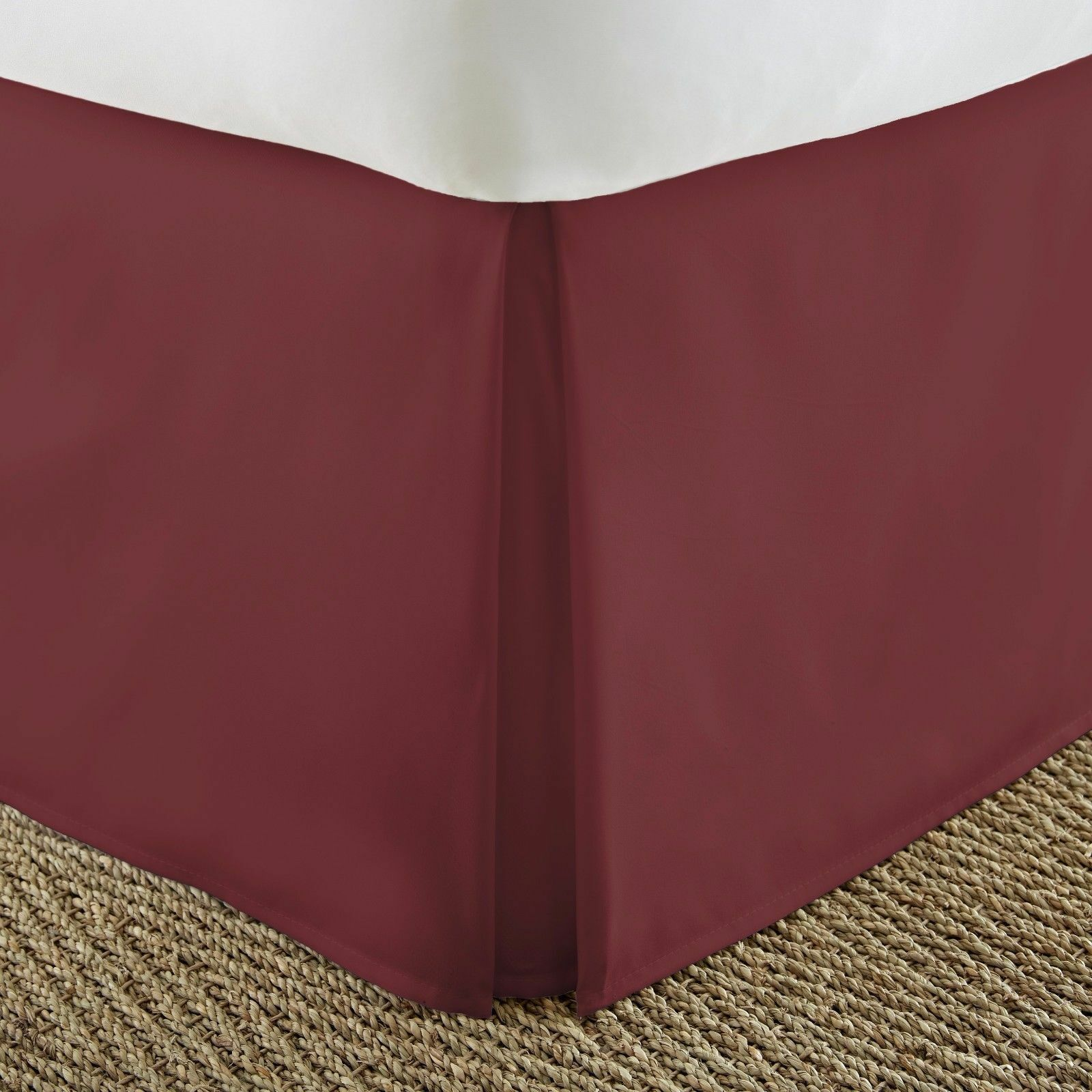 Burgundy Solid Bed Skirt Select Drop Length All US Size 1000 TC Egyptian Cotton