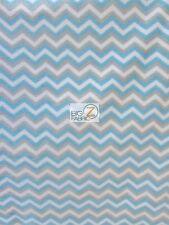 CHEVRON ZIG ZAG PRINT POLAR FLEECE FABRIC - Gray/White/Baby Blue - SOLD BTY 901