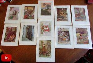 Orientalism Art Nouveau Arabia 1914 color prints lot x 11 fairy tales